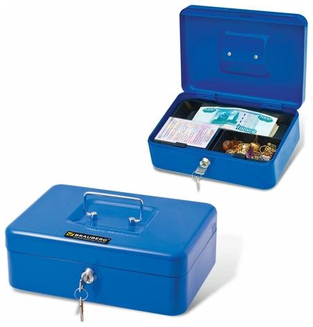 Ящик для денег, ценностей, документов, печатей, 90х180х250 мм, ключевой замок, синий, BRAUBERG  Brauberg
