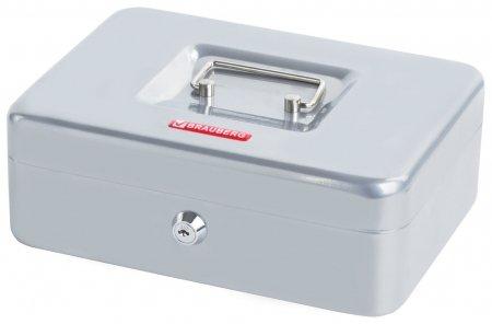 Ящик для денег, ценностей, документов, печатей, 90х180х250 мм, ключевой замок, серебристый, BRAUBERG  Brauberg