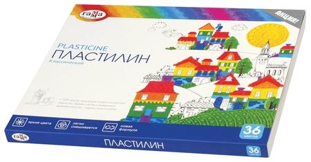 """Пластилин классический ГАММА """"Классический"""", 36 цветов, со стеком, картонная упаковка   Гамма"""