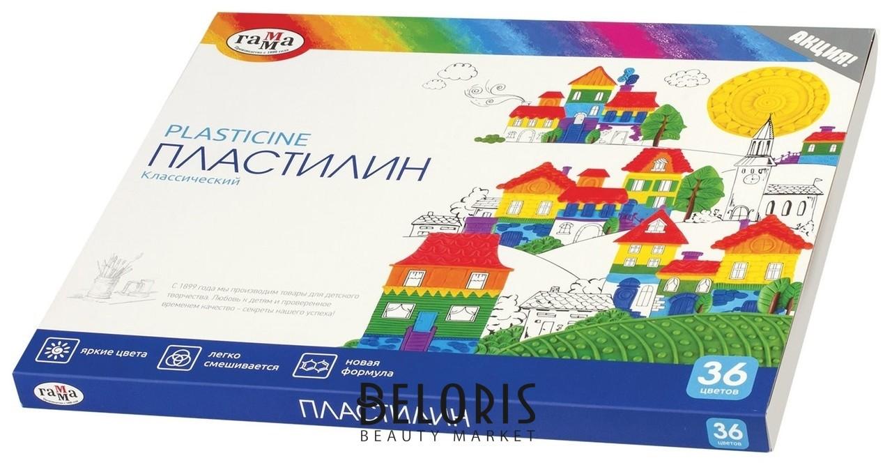 Пластилин классический ГАММА Классический, 36 цветов, со стеком, картонная упаковка  Гамма