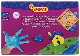 Краски пальчиковые 6 цветов на водной основе в баночках  Jovi