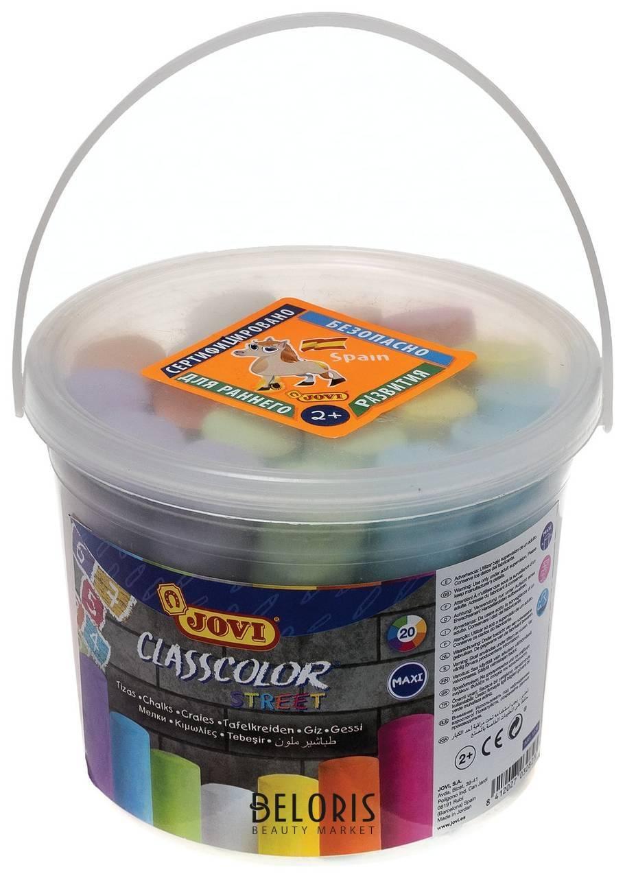 Мел цветной JOVI, набор 20 шт., для рисования на асфальте, круглый, пластиковое ведро Jovi