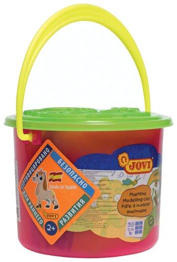 Пластилин JOVI, набор, 6 цветов, 3 формочки, 3 стека, клеенка, пластиковое ведро Jovi