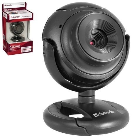 Веб-камера DEFENDER C-2525HD, 2 Мп, микрофон, USB 2.0, регулируемое крепление, черная  Defender
