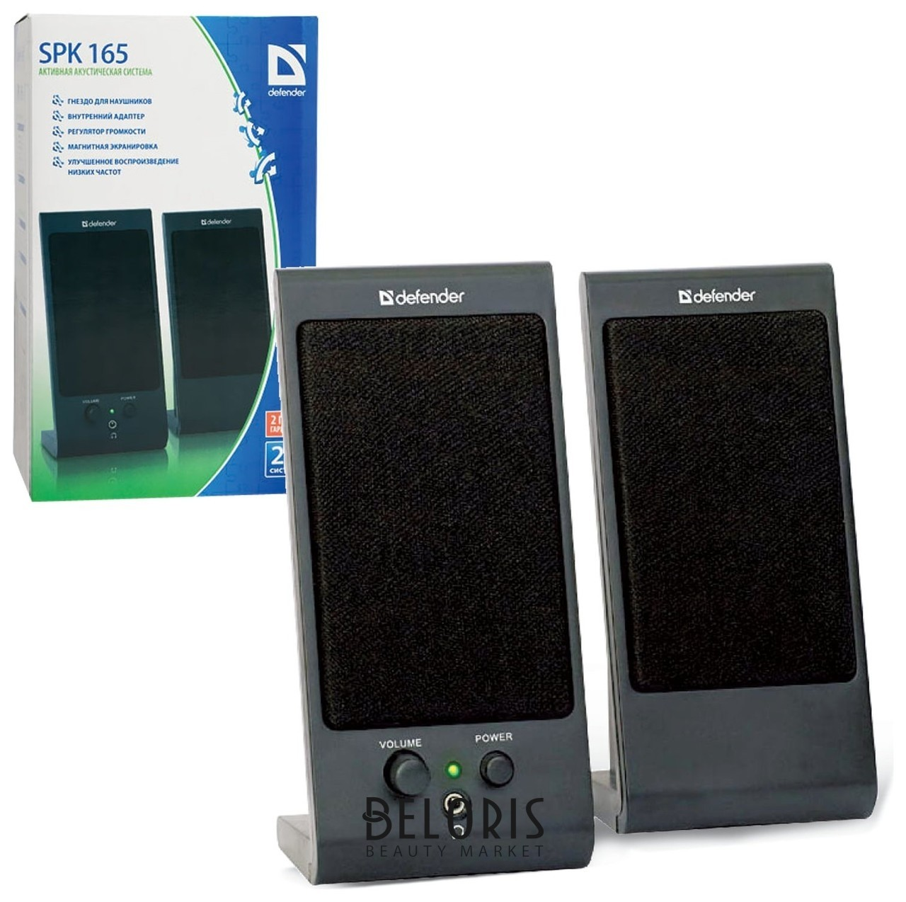 Колонки компьютерные DEFENDER SPK-165/170, 2.0, 2х2 W, пластик, черные, разъем для наушников  Defender