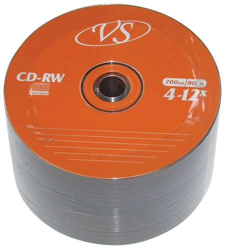 Диски Cd-rw Vs 700 Mb 4-12x, комплект 50 шт., Bulk  Vs