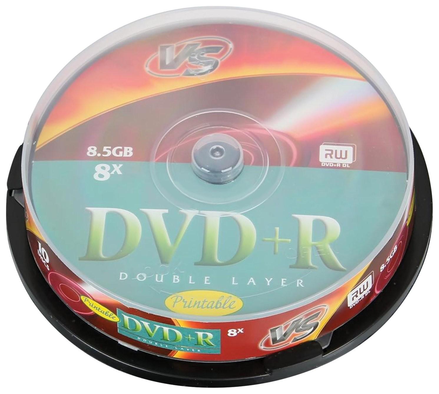 Диски Dvd+r Vs 8,5 Gb 8x, комплект 10 шт., Cake Box, двухслойный  Vs