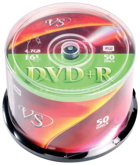 Диски DVD+R VS 4,7 Gb 16x, комплект 50 шт., Cake Box  Vs