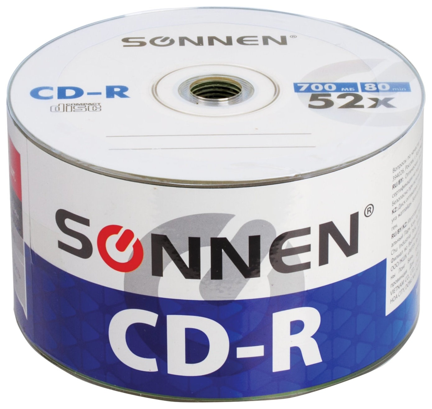 Диски Cd-r Sonnen 700 Mb 52x Bulk, комплект 50 шт.  Sonnen