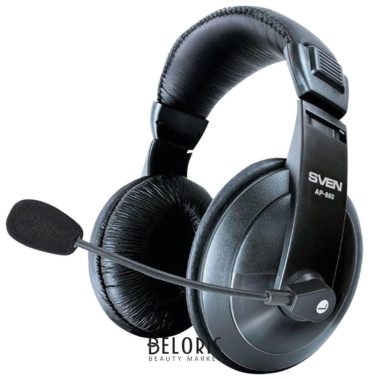 Наушники с микрофоном (гарнитура) SVEN AP-860MV, проводные, 2 м, с оголовьем, черные  Sven