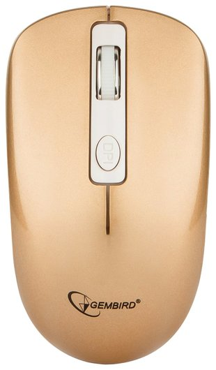 Мышь беспроводная бесшумная Gembird Musw-400-g, 3 кнопки+1 колесо-кнопка, оптическая, бело-золотая  Gembird
