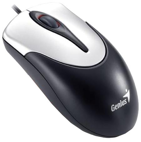 Мышь проводная GENIUS NetScroll 100 V2, USB, 2 кнопки + 1 колесо-кнопка, оптическая, чёрно-серебристая   Genius