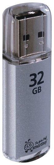 Флэш-диск 32 GB, SMARTBUY V-Cut, USB 2.0, металлический корпус, серебристый   Smartbuy