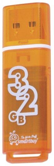 Флэш-диск 32 GB, SMARTBUY Glossy, USB 2.0, оранжевый   Smartbuy