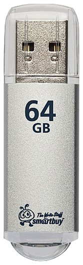 Флэш-диск 64 GB, SMARTBUY V-Cut, USB 3.0, металлический корпус, серебристый   Smartbuy