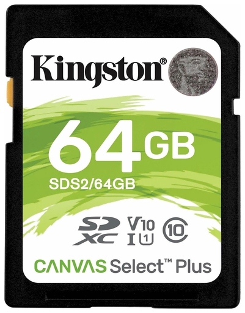 Карта памяти SDXC 64 GB KINGSTON Canvas Select Plus UHS-I U1, 100 Мб/сек (class 10)  Kingston
