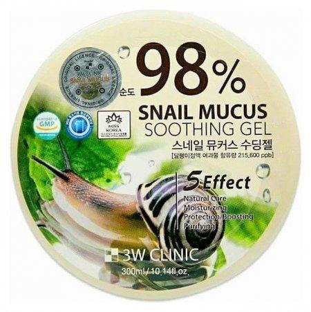 Гель для тела универсальный с экстрактом слизи улитки Snail Mucus Soothing Gel 98%  3W CLINIC