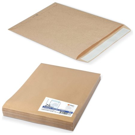 Конверт-пакеты Е4+ плоские (300х400 мм), до 300 листов, крафт-бумага, отрывная полоса, комплект 25 шт.  Курт