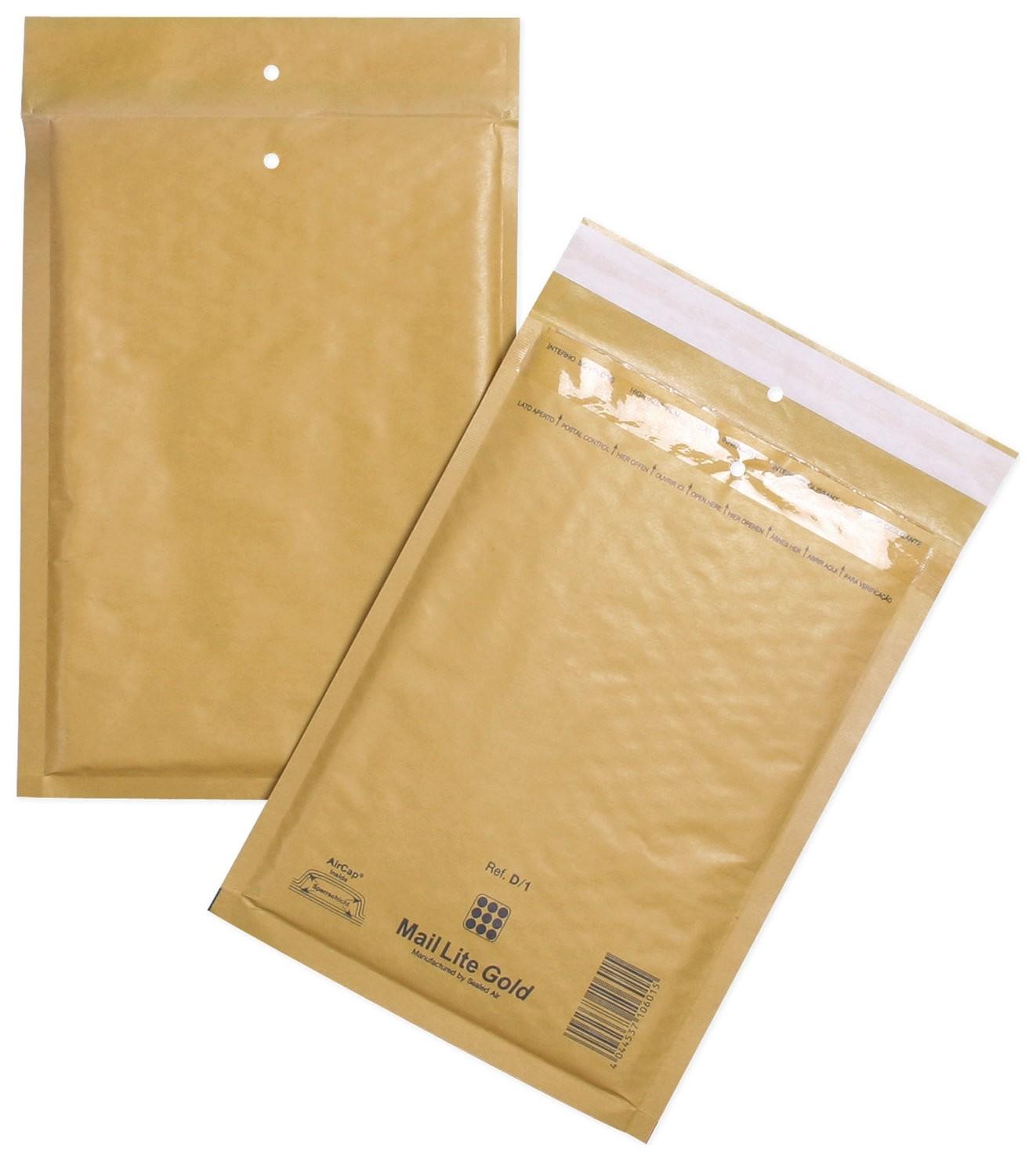 Конверт-пакеты с прослойкой из пузырчатой пленки (200х270 мм), крафт-бумага, отрывная полоса, комплект 100 шт.  Курт