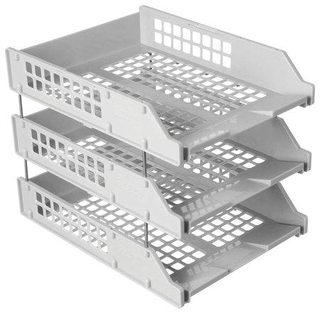 Лотки горизонтальные для бумаг, набор 3 шт. (340х260х240 мм), на металлических стержнях, серые, Стамм Strong  Стамм