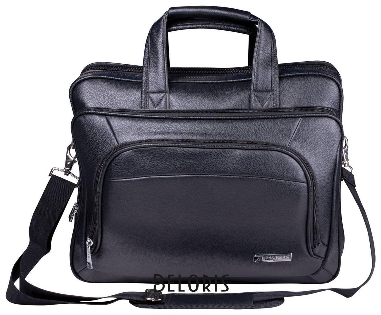 Сумка деловая Brauberg Favorite, 32х41х12 см, отделение для планшета и ноутбука 15,6, кожзам, черная Brauberg