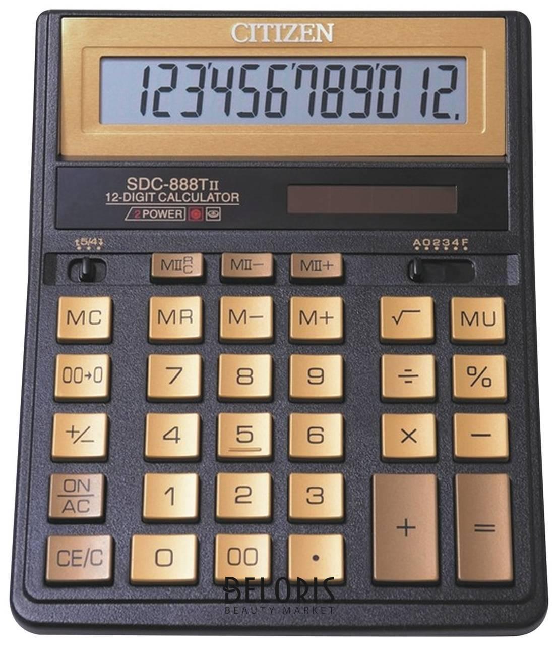 Калькулятор настольный Citizen Sdc-888tiige (203х158 мм), 12 разрядов, двойное питание, золотой Citizen