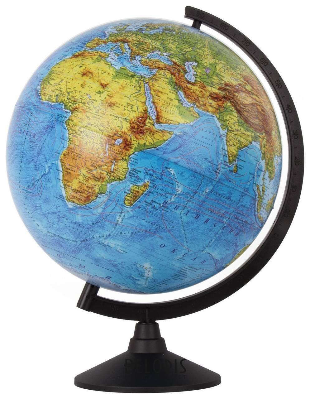 Глобус физический, диаметр 320 мм, масштаб 1:40 000 000 Классик Globen