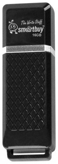 Флэш-диск 16 GB, SMARTBUY Quartz, USB 2.0, черный   Smartbuy