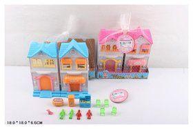 Дом с куклами и мебелью, сетка 18*18*6,5 см