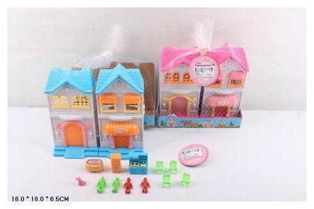 Дом с куклами и мебелью, сетка 18*18*6,5 см  КНР Игрушки