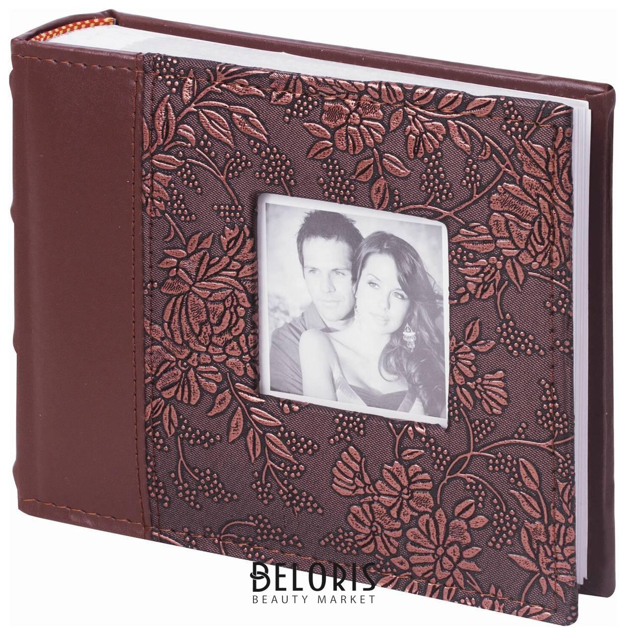 Фотоальбом Brauberg на 100 фотографий 10х15 см, обложка под кожу, бумажные страницы, бокс, коричневый Brauberg