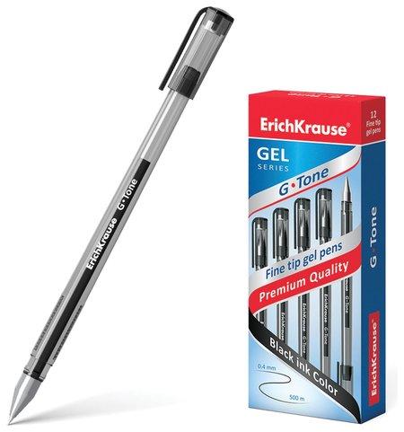 """Ручка гелевая Erich Krause """"G-tone"""", черная, корпус тонированный черный, узел 0,5 мм, линия письма 0,4 мм  Erich krause"""