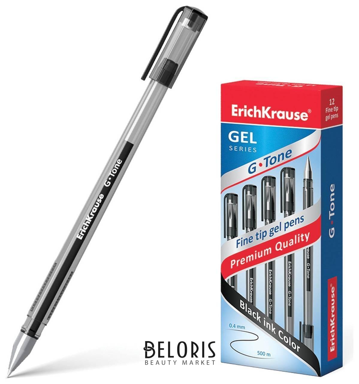 Ручка гелевая Erich Krause G-tone, черная, корпус тонированный черный, узел 0,5 мм, линия письма 0,4 мм Erich krause