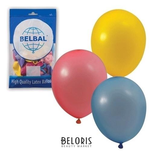 Шары воздушные 10 (25 см), комплект 50 шт., 12 пастельных цветов, в пакете Belbal