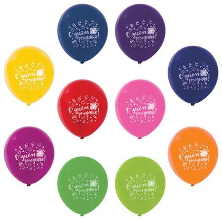 """Шары воздушные золотая сказка, 12""""(30 см), комплект 50 штук, 10 цветов, с рисунком""""С Днем Рождения""""  Золотая сказка"""