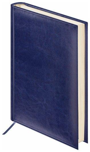 """Ежедневник недатированный МАЛЫЙ ФОРМАТ (100х150 мм) А6, BRAUBERG """"Imperial"""", под гладкую кожу, 160 л., кремовый блок, темно-синий   Brauberg"""