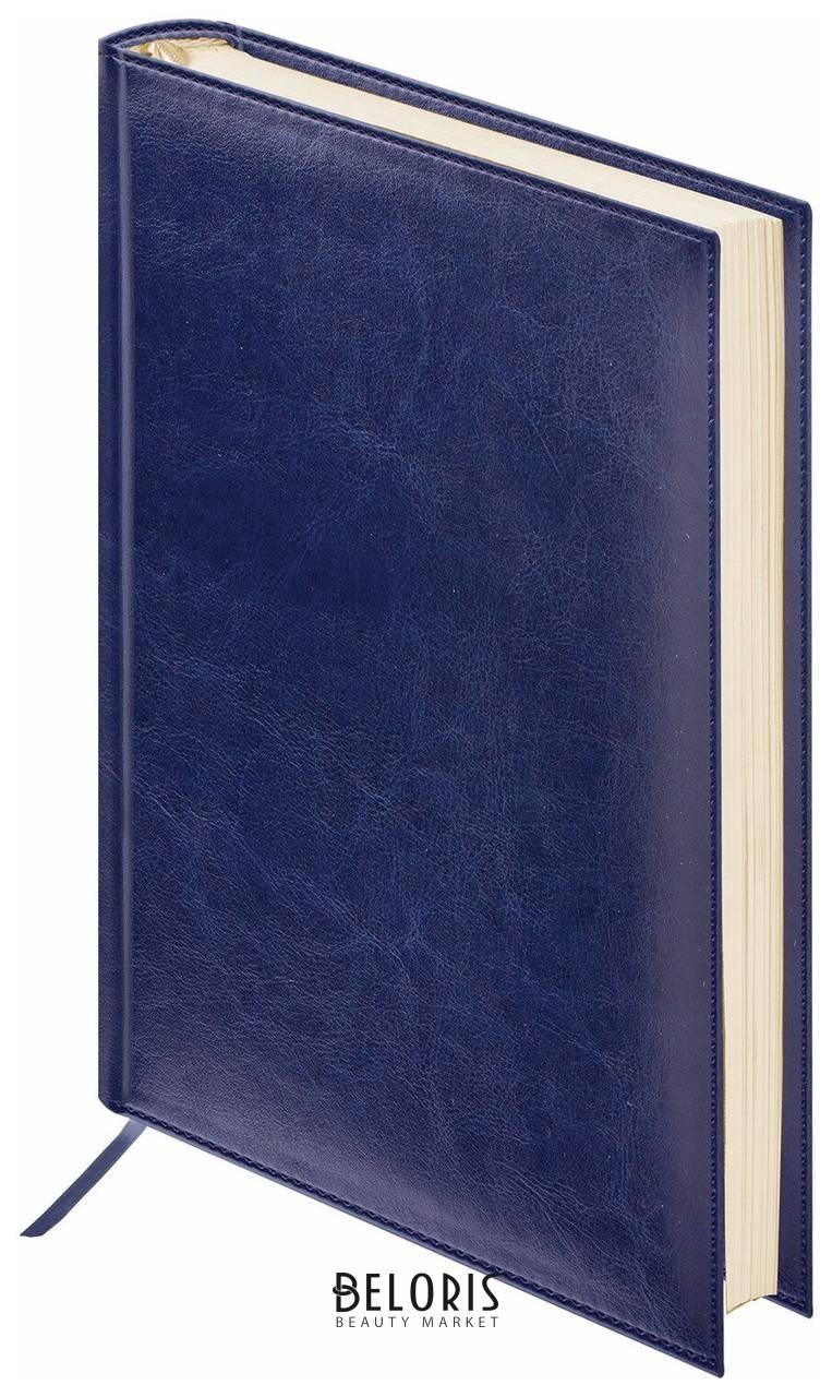 Ежедневник недатированный МАЛЫЙ ФОРМАТ (100х150 мм) А6, BRAUBERG Imperial, под гладкую кожу, 160 л., кремовый блок, темно-синий  Brauberg