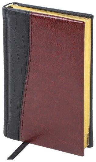"""Ежедневник недатированный малый формат (100х150 мм) А6, BRAUBERG """"Cayman"""", комбинир. кожа, 160 л, крем. блок, зол. срез, чер/т-корич   Brauberg"""