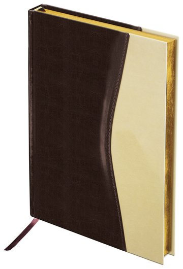 """Ежедневник недатированный А5 (138х213 мм) Brauberg """"De Luxe"""", комбинированная кожа, 160 л., золотой срез, коричневый/бежевый  Brauberg"""