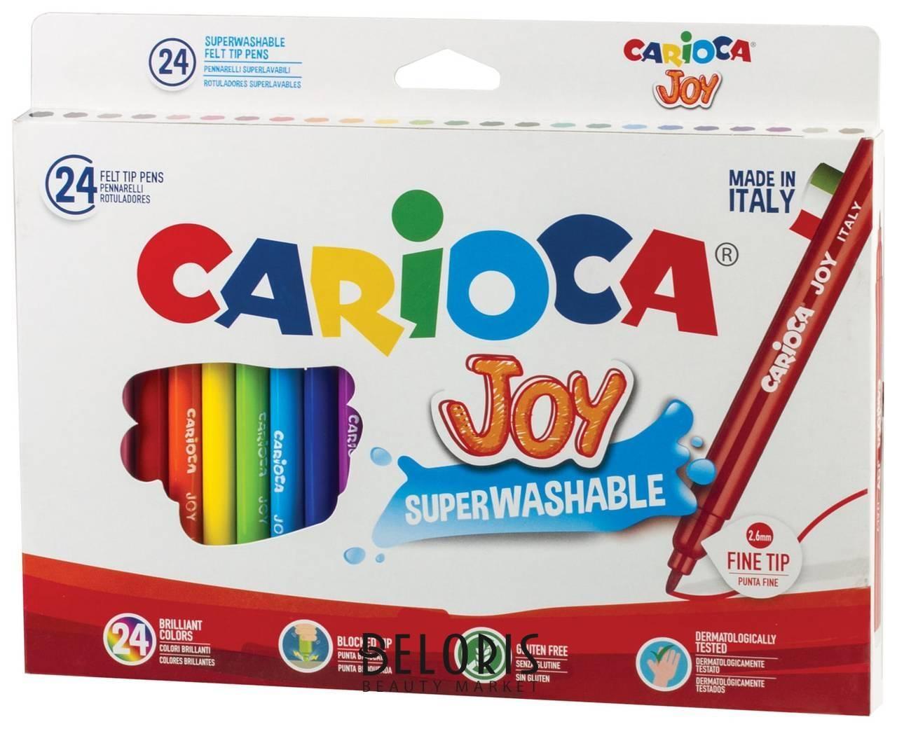 Фломастеры Carioca Joy, 24 цвета, суперсмываемые, вентилируемый колпачок, картонная коробка Carioca