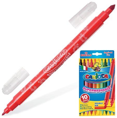 """Фломастеры двухсторонние Carioca """"Birello"""", 10 цветов, 2 пишущих узла 2,5 и 5 мм, суперсмываемые"""