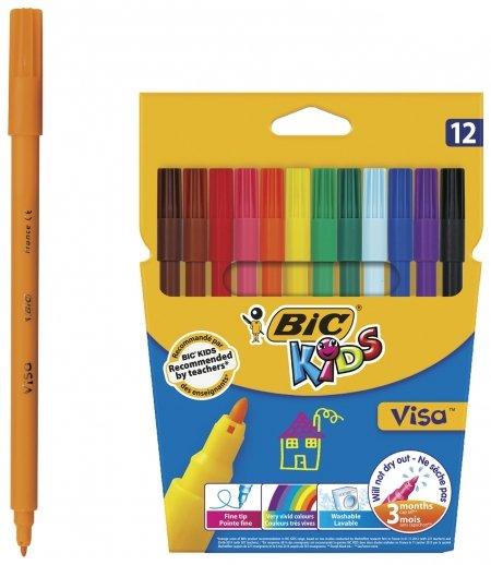 Фломастеры 12 цветов суперсмываемые Visa  BIC