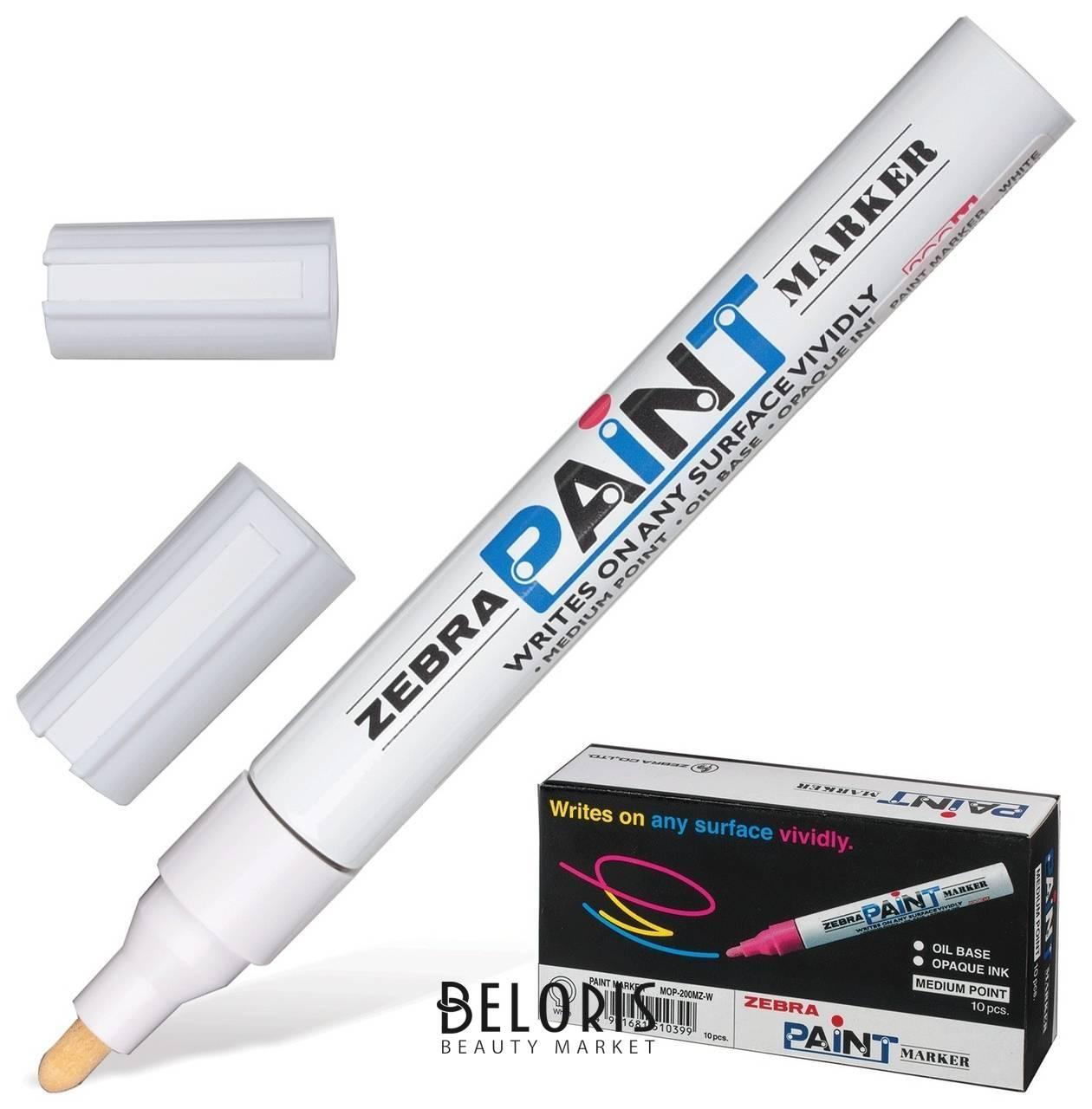 Маркер-краска перманентный (нестираемый) Zebra Paint,2 мм, белый, круглый наконечник  Zebra