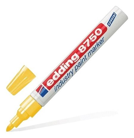 Маркер-краска лаковый (Paint Marker) Edding 8750, желтый, 2-4 мм, круглый наконечник, алюминиевый корпус   Edding