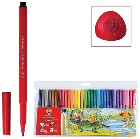 Фломастеры Koh-i-noor, 30 цветов, смываемые, трехгранные, пластиковая упаковка, европодвес   Koh-i-noor