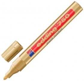 Маркер-краска лаковый Edding 750, 2-4 мм, золотой, круглый наконечник, алюминиевый корпус   Edding