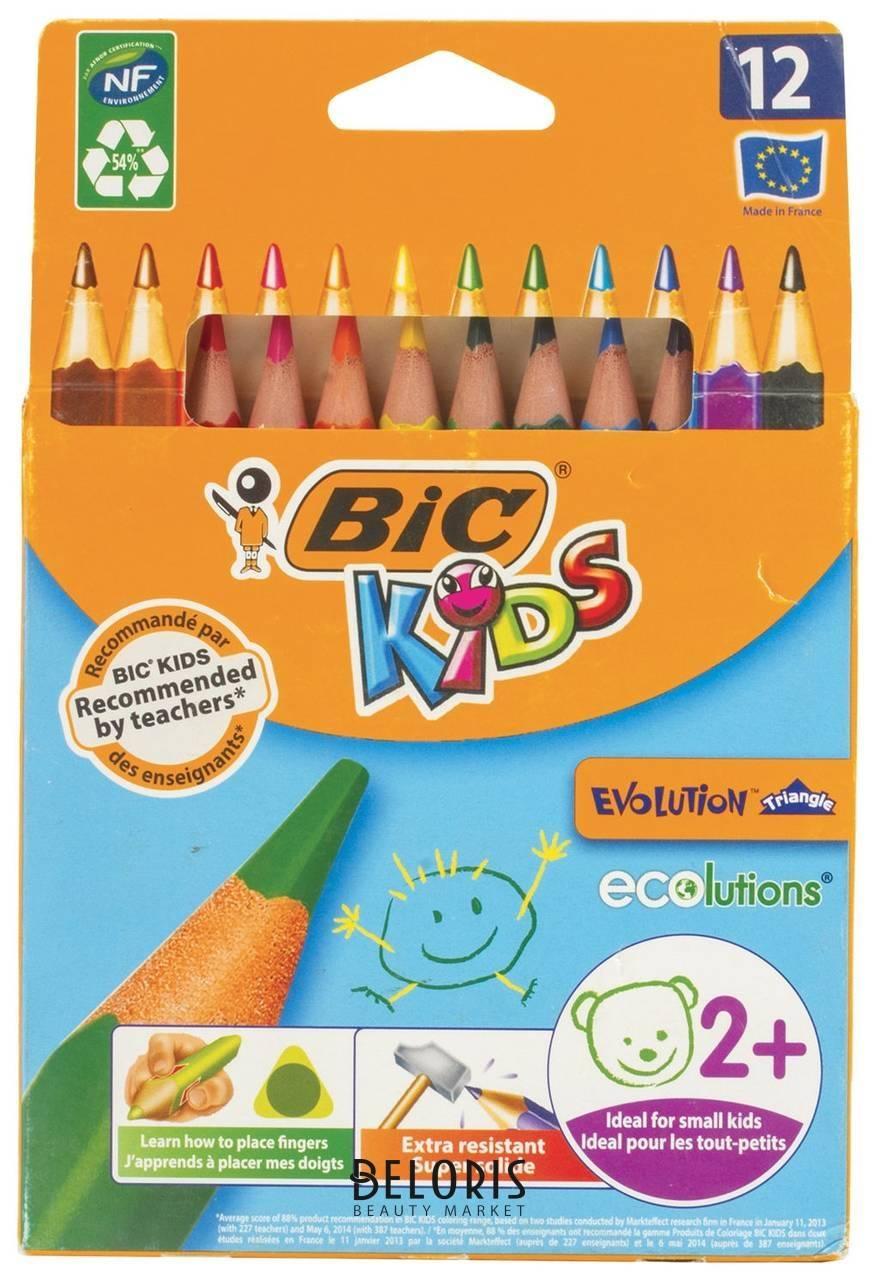 Карандаши цветные трехгранные 12 цветов Evolution BIC Kids
