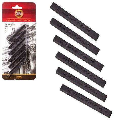 Уголь прессованный KOH-I-NOOR, набор 6 шт., квадратное сечение, 3 градации твердости  Koh-i-noor