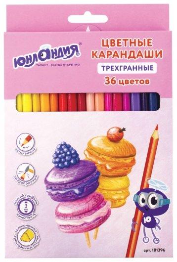 """Карандаши цветные 36 цветов """"Сладкие истории""""  Юнландия"""