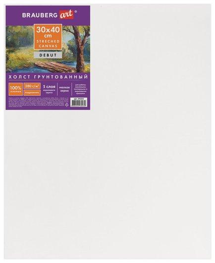 Холст на подрамнике ART DEBUT, 30х40 см, грунтованный, 100% хлопок, мелкое зерно Brauberg